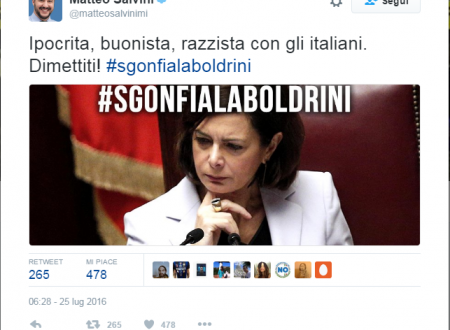 Salvini paragona la Boldrini ….